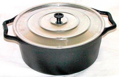 Caçarola Alça de ferro tampa de aluminio